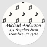 Return Address Labels :: Black Music Notes Classic Round Sticker