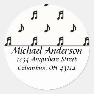 Return Address Labels :: Black Music Notes Stickers