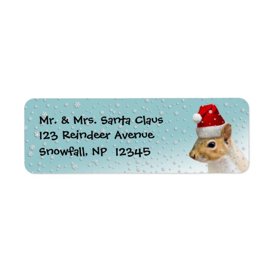 return address labels christmas santa squirrel zazzle com