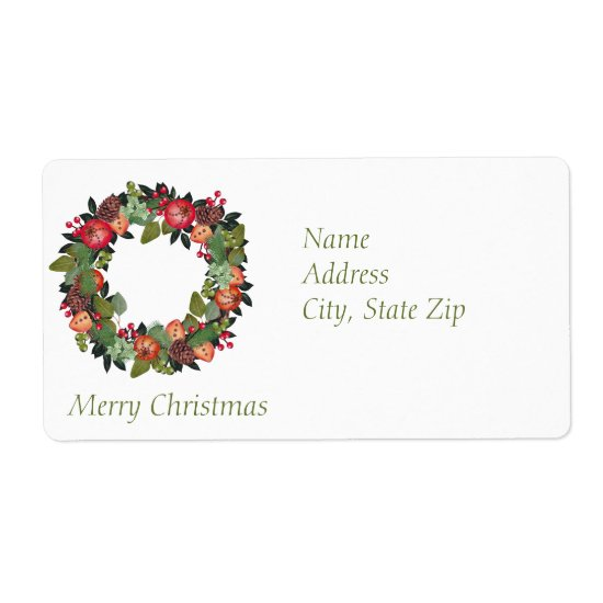 Return Address Labels - Christmas wreath