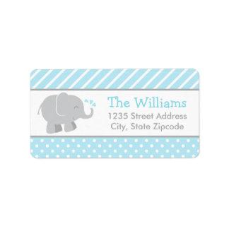 Return Address Labels   Elephant Blue and Gray
