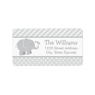 Return Address Labels | Elephant Gray White