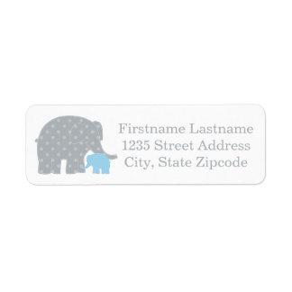Return Address Labels | Elephants Blue and Gray
