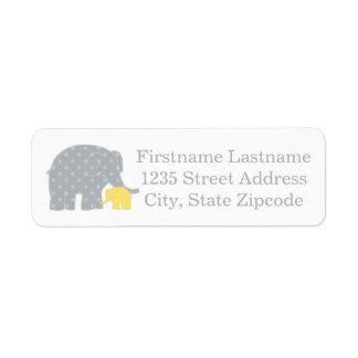 Return Address Labels | Elephants Yellow Gray