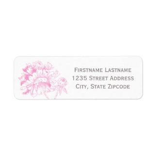Return Address Labels   Fuchsia Peony Design