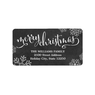 Return Address Labels | Merry Christmas Chalkboard at Zazzle