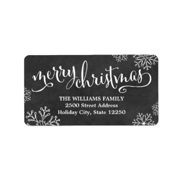 Christmas Themed Return Address Labels | Merry Christmas Chalkboard