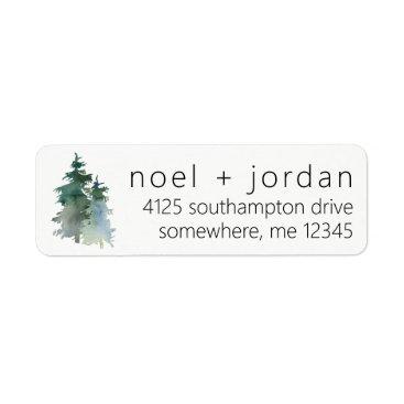autumnandpine Return Address Labels Pine Tree Winter Fir Forest