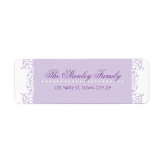 RETURN ADDRESS LABELS pretty curls violet purple