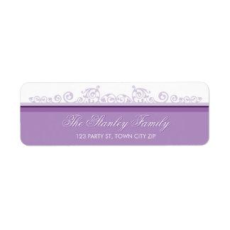 RETURN ADDRESS LABELS pretty curls violet purple