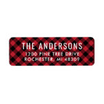 """Return Address Labels   Red Buffalo Plaid<br><div class=""""desc"""">Holiday return address labels feature white modern custom text that can be personalized. Red and black buffalo check / plaid patterned background included.</div>"""