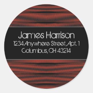 Return Address Labels :: Red Chrome D2 Black Classic Round Sticker