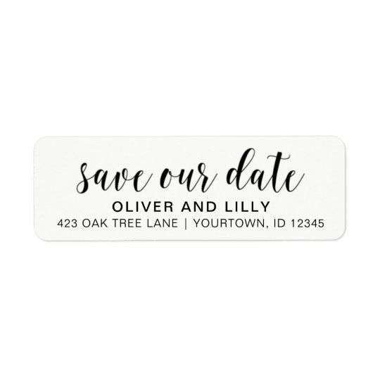 Return Address Labels Save The Date Script Font