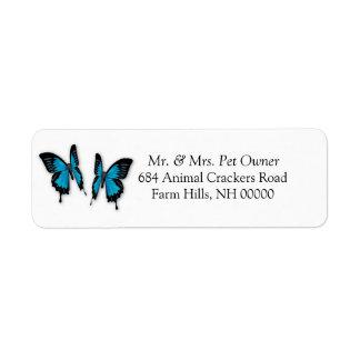 Return Address Labels Stickers Two Butterflies