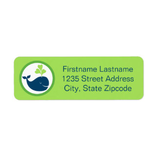 Return Address Labels | Whale Navy Blue and Green