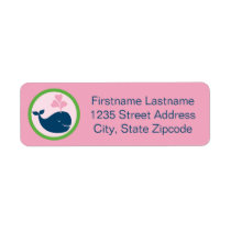 Return Address Labels | Whale Navy Blue Pink Green