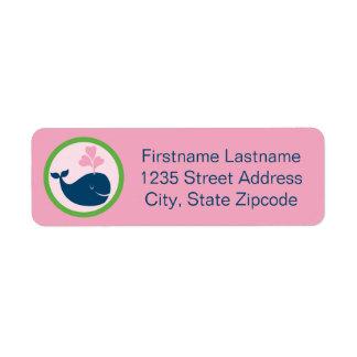 Return Address Labels | Whale Navy Blue Pink Green