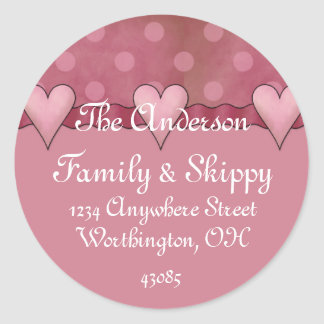 Return Address Labels :: Whimiscal Hearts/Dots Classic Round Sticker