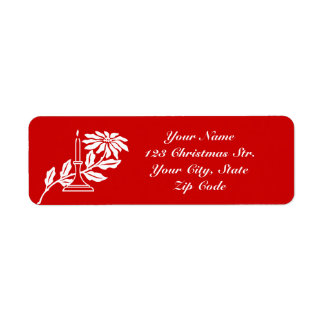Return address labels with Christmas candle design
