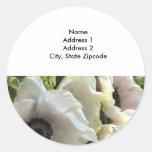 Return Address Lables: Royal Wedding Poppies Classic Round Sticker