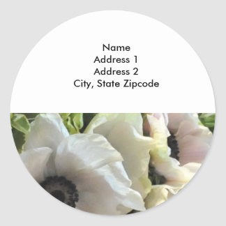 Return Address Lables: Royal Wedding Poppies Classic Round Sticker