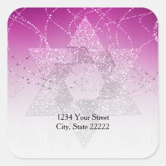 Return Address Magenta Pink Glittery Star of David Square Sticker