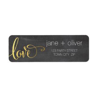 RETURN ADDRESS modern love script type gold gray Label