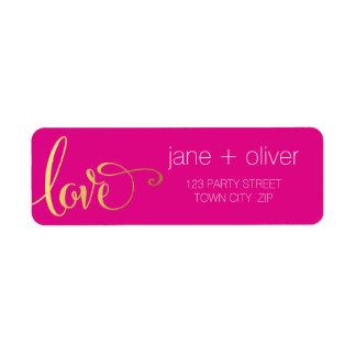 RETURN ADDRESS modern love script type gold pink Label