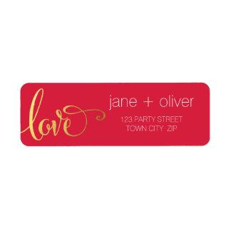RETURN ADDRESS modern love script type gold red Label
