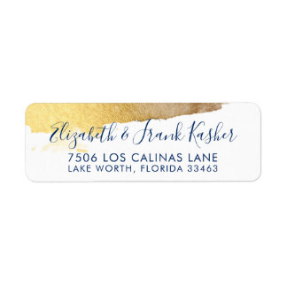 RETURN ADDRESS modern luxe gilded gold navy blue Label