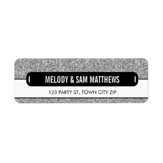 RETURN ADDRESS modern panel sparkly glitter silver Return Address Label