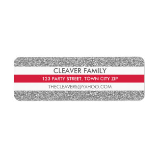 RETURN ADDRESS modern stripe glitter silver red Label