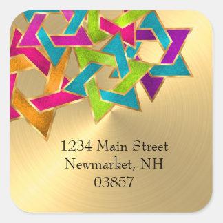 Return Address Multicolored Star of David Gold Square Sticker