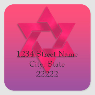 Return Address Pink to Purple Ombre with Star Square Sticker