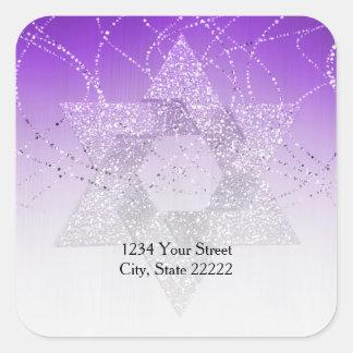 Return Address Purple Glittery Star of David Square Sticker