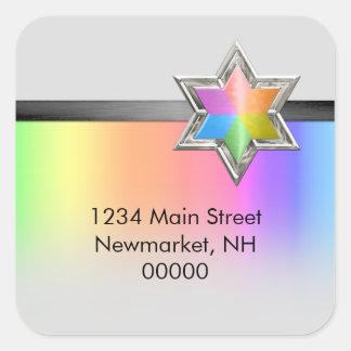 Return Address Rainbow Black Ribbon Silver Star Square Sticker