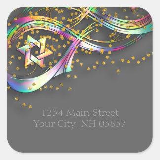 Return Address Rainbow Star Flourish Gold Confetti Square Sticker