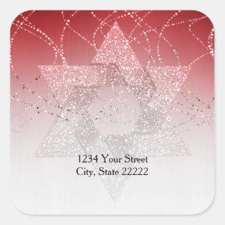 Return Address Red Glittery Star of David Square Sticker