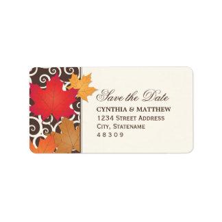 Return Address Sticker | Fall Save the Date Theme