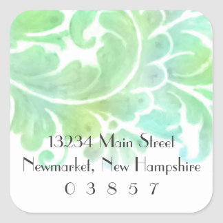 Return Address Stylish Aqua and Green Watercolor Square Sticker