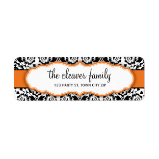 RETURN ADDRESS stylish damask black bright orange Label