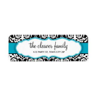 RETURN ADDRESS stylish damask black turquoise blue Label