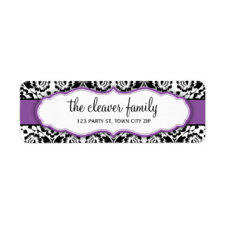 RETURN ADDRESS stylish damask black violet purple Label