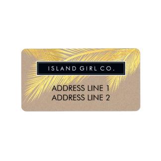 RETURN ADDRESS tropical palm fronds gold kraft Address Label
