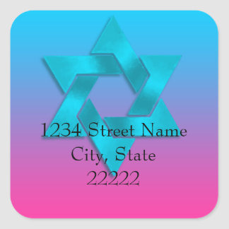 Return Address Turquoise to Pink Ombre with Star Square Sticker