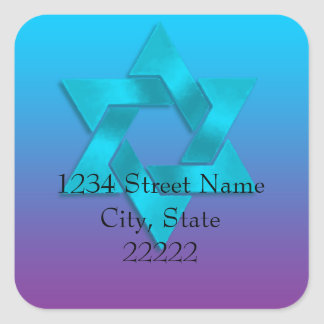Return Address Turquoise to Purple Ombre with Star Square Sticker