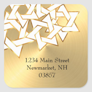 Return Address White Star of David on Gold Square Sticker