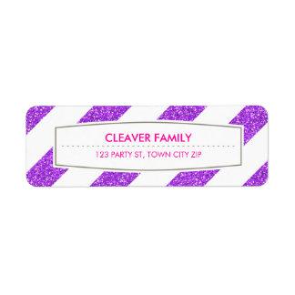 RETURN ADDRESS wide stripe pattern glitter purple Label
