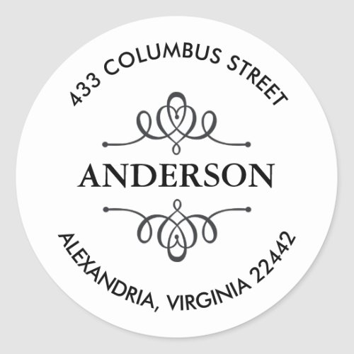 Return Address with Decorative Emblem Classic Round Sticker