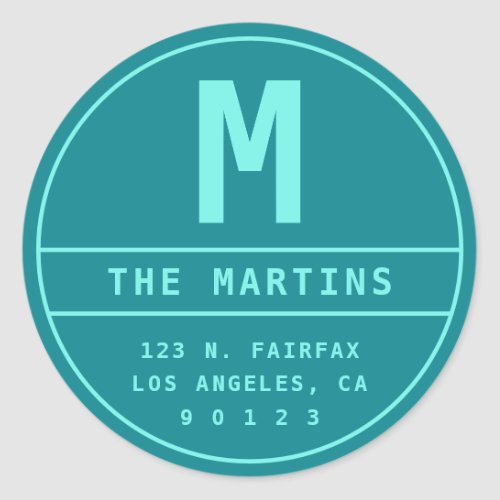 Return Address with Monogram  Teal  Turquoise Classic Round Sticker